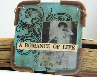 Romance of Life necklace Mixed Media jewelry old photography collage
