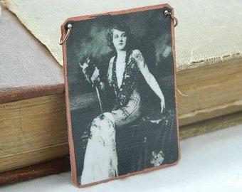 Pin up necklace or pendant mixed media jewelry Ziegfeld Follies