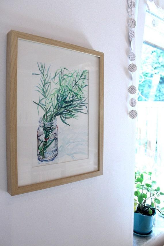 Herb Watercolor Mason Jar, Fresh Tarragon, 9 x 12 in. by Heather McCaw