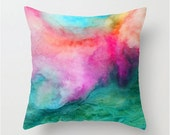 Watercolor pillow, home decor, watercolor accents, watercolor painting, abstract watercolor, throw pillow cover, modern home decor, colorful