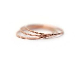 Rose gold stacking rings, slim, simple, thin set of 3, regular or midi ring,14k gold filled, gift for her