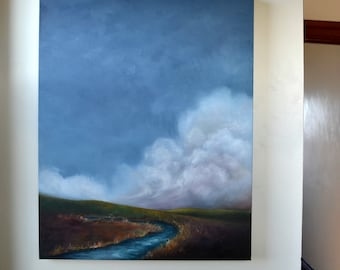 Landscape painting, original art, oil on canvas - Down by the creek