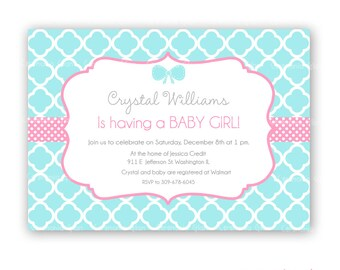 Baby shower girl  turquoise and pink quatrefoil printable invitation