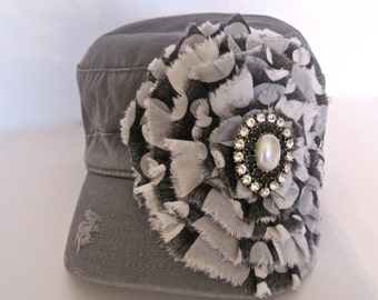 Grey Cadet  Military Distressed  Army Petal Hat with Grey Variegated Fabric Flower and Gorgeous Pearl and Rhinestone Brooch Accent