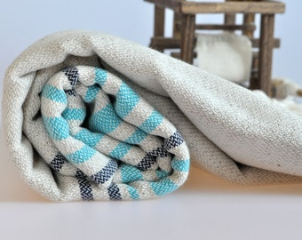 Linen Cotton mix Peshtemal Towel Turkish bath and Beach Towel in turquoise , dark blue stripes on natural linen background