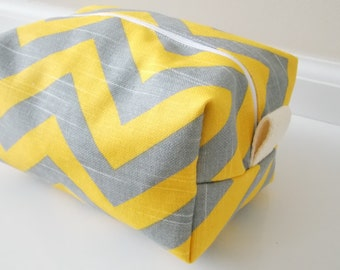 Yellow and Grey Chevron Makeup Bag  - Cosmetic Pouch -  Lunch Bag - Wet Bag -Waterproof Bag