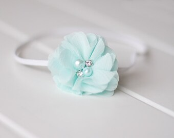 Newborn or Girls Aqua Blue Chiffon Flower Skinny Headband & Photography Prop