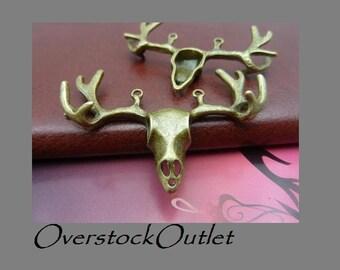 Large Deer Head Pendant Connector - AL403 ZB Beautiful Bronze 3D