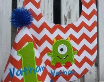 Monster Birthday - One Eyed Monster - Little Monster Birthday - Chevron Party Hat and Bib Set - Monster Cake Smash