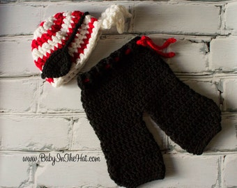 Newborn Pirate Hat Eye Patch and Pants Crochet Photo Prop Set Costume