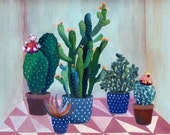 Cactus garden - illustration - giclee print