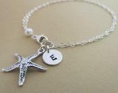 Starfish Bracelet, Sterling Silver Personalized, Beach Wedding, Monogram, Bridesmaids Gifts, Wedding Gift, Anniversary, Gift