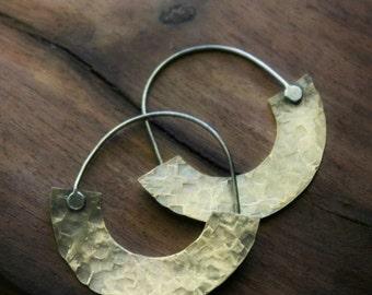 Brass Crescent Hoops, Silver and Brass Earrings, Wide Hoops, Hammered Brass Hoops, Metalwork Jewelry, Tribal Hoop Earrings, Hoops Brass