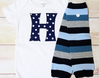 Baby Boy Initial Bodysuit and Matching Personalized Leg Warmers Set - Navy Blue Polka Dot Personalized Bodysuit and Striped Leg Warmers