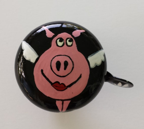 bicycle bell flying pig bike bell bicycle accessories bike art cyclist art cycling beach cruisers Cincinnati queens city bikes bicycle gift