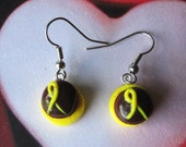 Yellow Ribbon Chocolate Cupcake Earrings-Polymer Clay