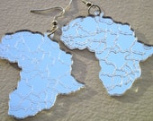 Africa Laser Cut Acrylic Mirror Earrings in Gold and Silver