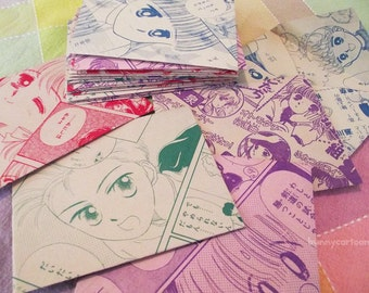 Vintage shoujo Japanese manga envelopes (set of 5)