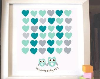 owl baby shower guest book alternative poster print guest sign owl children kids birthday