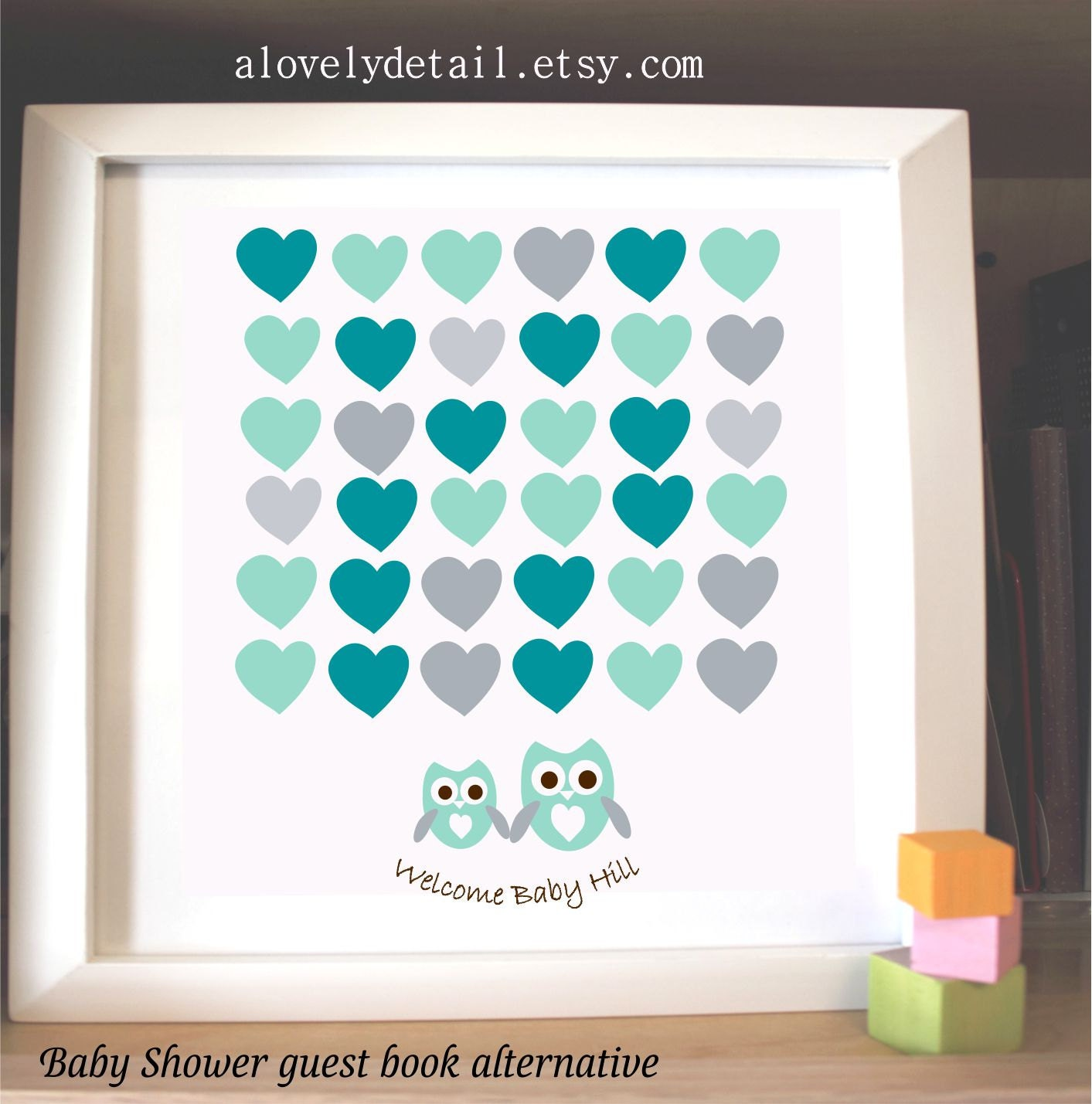 owl baby shower guest book alternative poster print guest