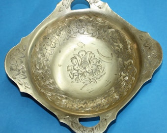 Vintage Brass Bowl With Etched Flower and Leaves, Made in India