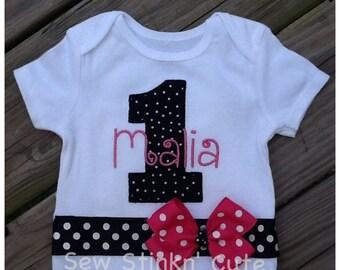 Appliquéd First Birthday Shirt with Bow