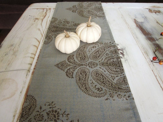 shabby chic table runner bureau scarf brown and blue table