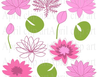 Clipart Flowers, Water Lilies Clip Art in Pink, 12 Flower graphics -water lily