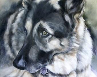 German Shepherd Painting, Custom Pet Portrait, Oil Painting, Pet Portrait, Animal Portrait, 12x16
