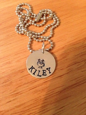 Necklace, Hand Stamped, Aluminum, Personalized