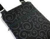 Black scroll cross body purse sling bag adjustable strap shoulder vacation travel wallet hobo hipster shopping kindle fall autumn winter