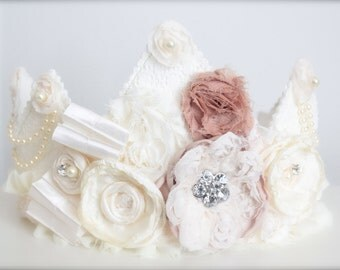 Vintage Inspired Lace Ivory and Nude Toned Rosette Fabric Crown - Perfect Birthday Hat or Wedding Photography Prop