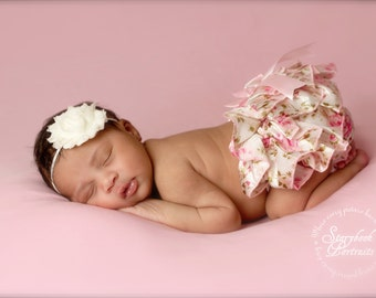 Ruffled Floral and Ivory bloomers with Chiffon Headband - Beautiful Newborn Photo Prop or Keepsake Photo Prop