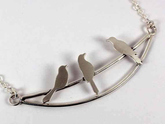 Three Birds on a Wire Bar Necklace - Sterling Silver - Ready to Ship