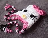 Crochet Hello Kitty Earflap Hat