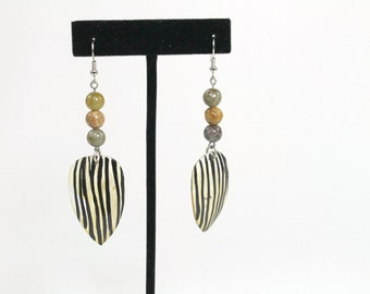 Tribal Earrings, Beaded Earrings, Zebra Earrings, Agate Earrings, Pierced Tribal Earrings