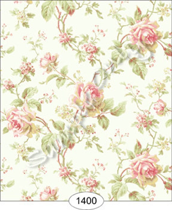 "Items Similar To Dollhouse Miniature Wallpaper, ""Camille"
