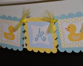 It's a Boy Ducky banner, ducky baby shower, ducky banner, rubber ducky, blue yellow banner