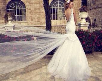 Wedding dress, lace wedding gown, designer dress, low cut back, dropped waistline, trumpet silhouette, custom made