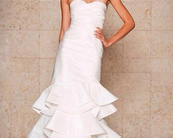 Wedding dress, wedding gown, sweetheart strapless neckline, trumpet silhouette, designer dress, custom made