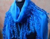 Shades of Blue Silk & Wool fringe shawl or scarf