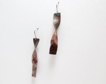 Two Tone Earrings - Polished and Oxidized Copper Dangles - Peach Black - Rust Black - Rustic Earrings - Rectangle Earrings - Twisted Copper