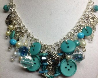 Gypsy Button Necklace in Teal/Turquoise