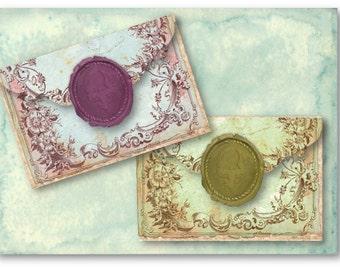 Digital Collage Sheet Download - Vintage Wax Seal Antique Envelopes -  935  - Digital Paper - Instant Download Printables