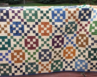 "Lap Quilt ""9 Patch Squared"" - Blue Green Gold- Handmade Quilt"