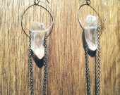 handcrafted mini hoop, quartz crystal point and silver chain earrings.