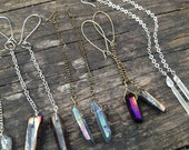 handcrafted mystic grey quartz crystal point long chain dangle earrings.