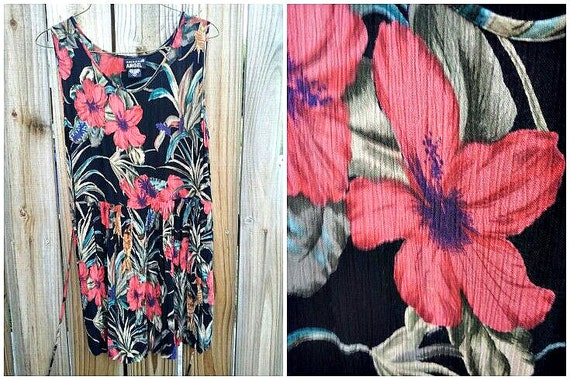 vintage sheer hawaiian sleeveless mini dress, button up skirt, tie back waist. size large.