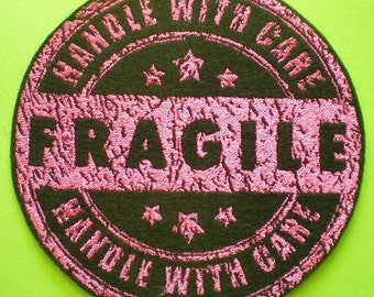 Large Embroidered Vintage Rubber Fragile Stamp, Distressed Look, Rubber Stamp, Fragile, Iron On Applique Patch
