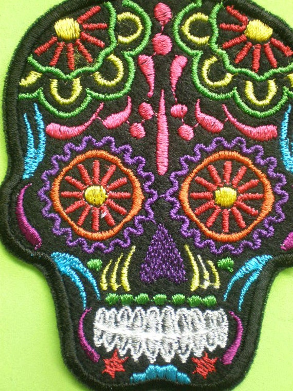 Small Embroidered Sugar Skull Iron On Patch Day of the Dead